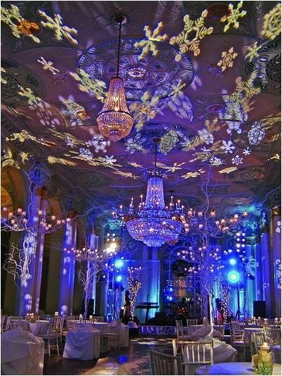 Wonderland setup with a snowflakes at this winter wedding An amazing transformation with light! & Using lights which can project cut out images are a great touch to ... azcodes.com