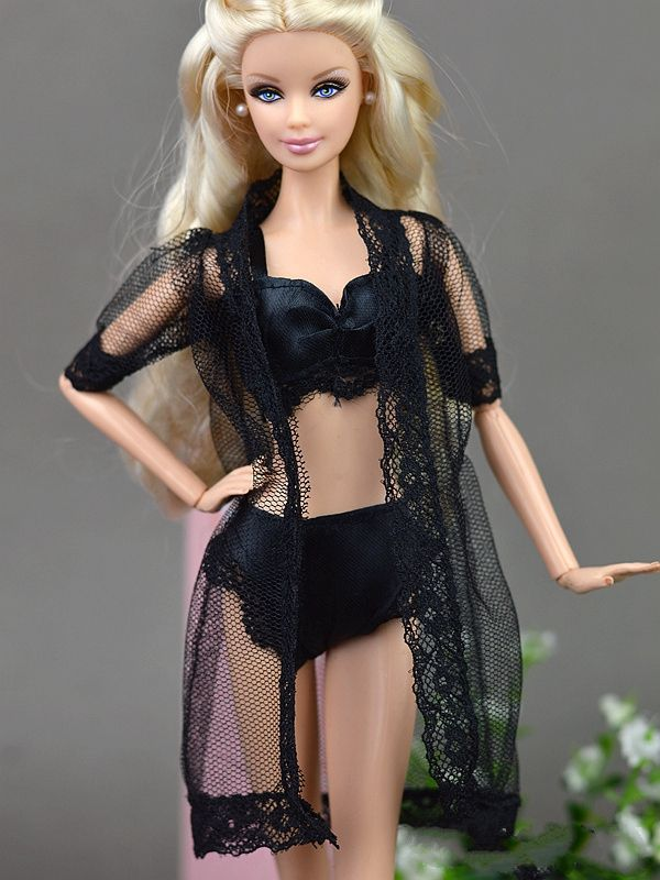 Doll Accessories Black Sexy Pajamas Lingerie Nightwear