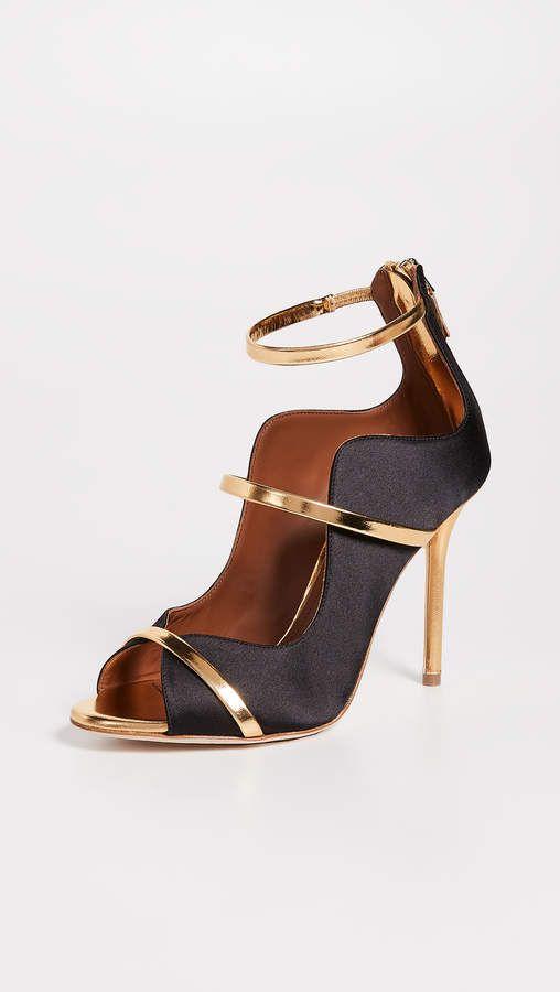 094b8354c06 Malone Souliers Mika Pumps - Black gold heels - Satin Strappy detailing  Metallic leather straps   heel Pumps Stiletto heel