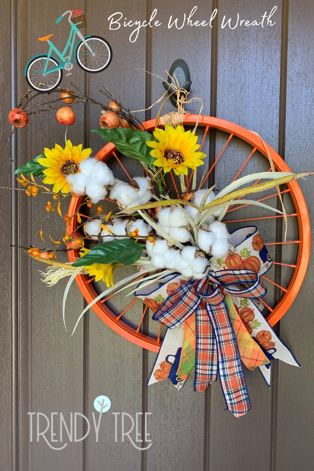 Fall Bicycle Wheel Wreath — Trendy Tree Visit the Trendy Tree blog to see the video tutorial