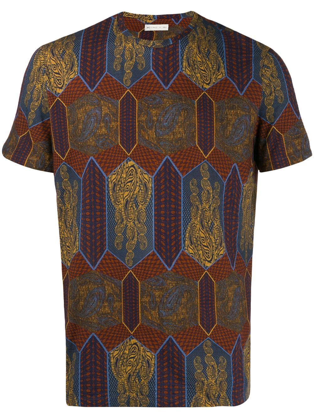 Etro Geometric Print Panel T Shirt Blue Geometric Print Shirts Fashion Design