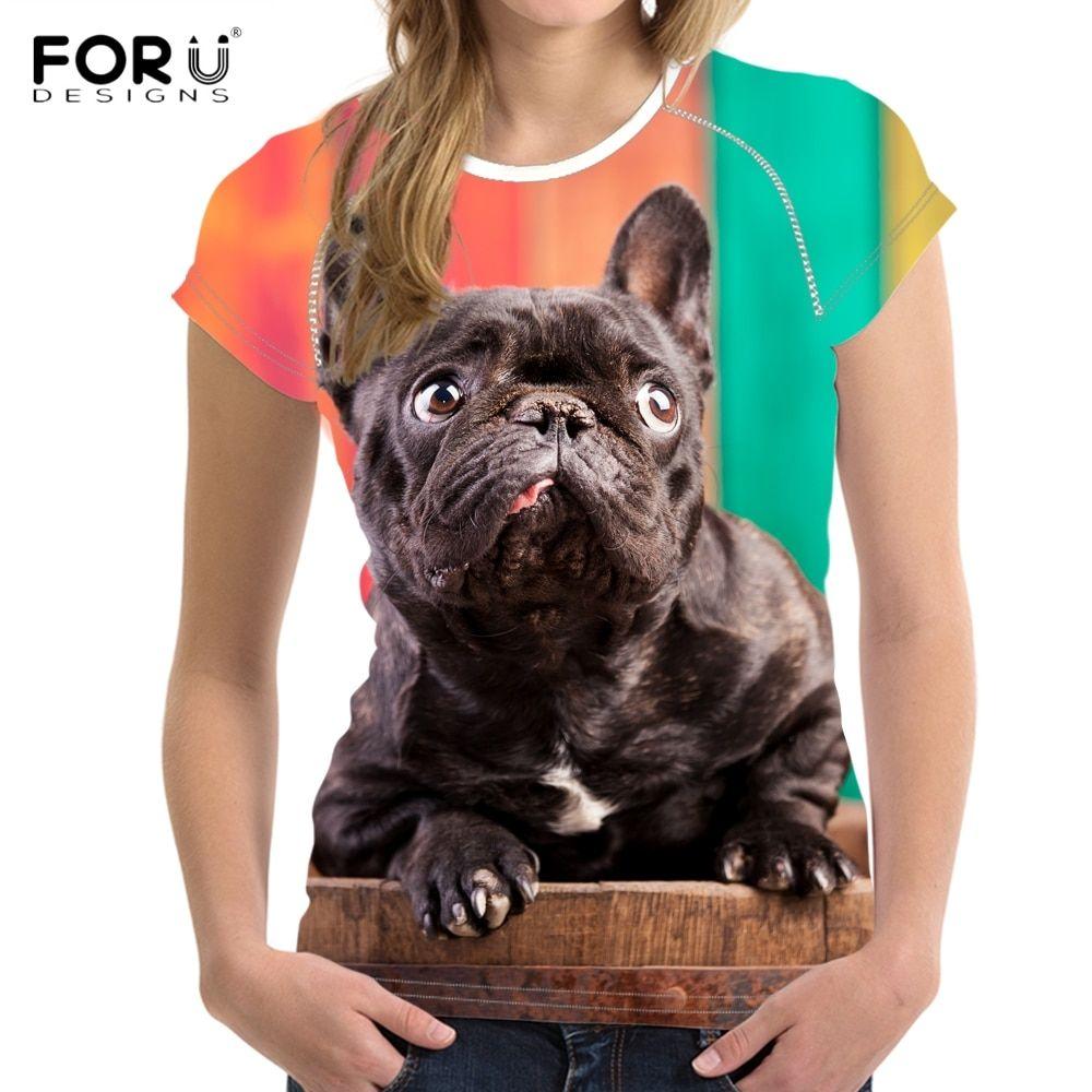 Cheap FORUDESIGNS Funny 3D Dog French Bulldog Print Women
