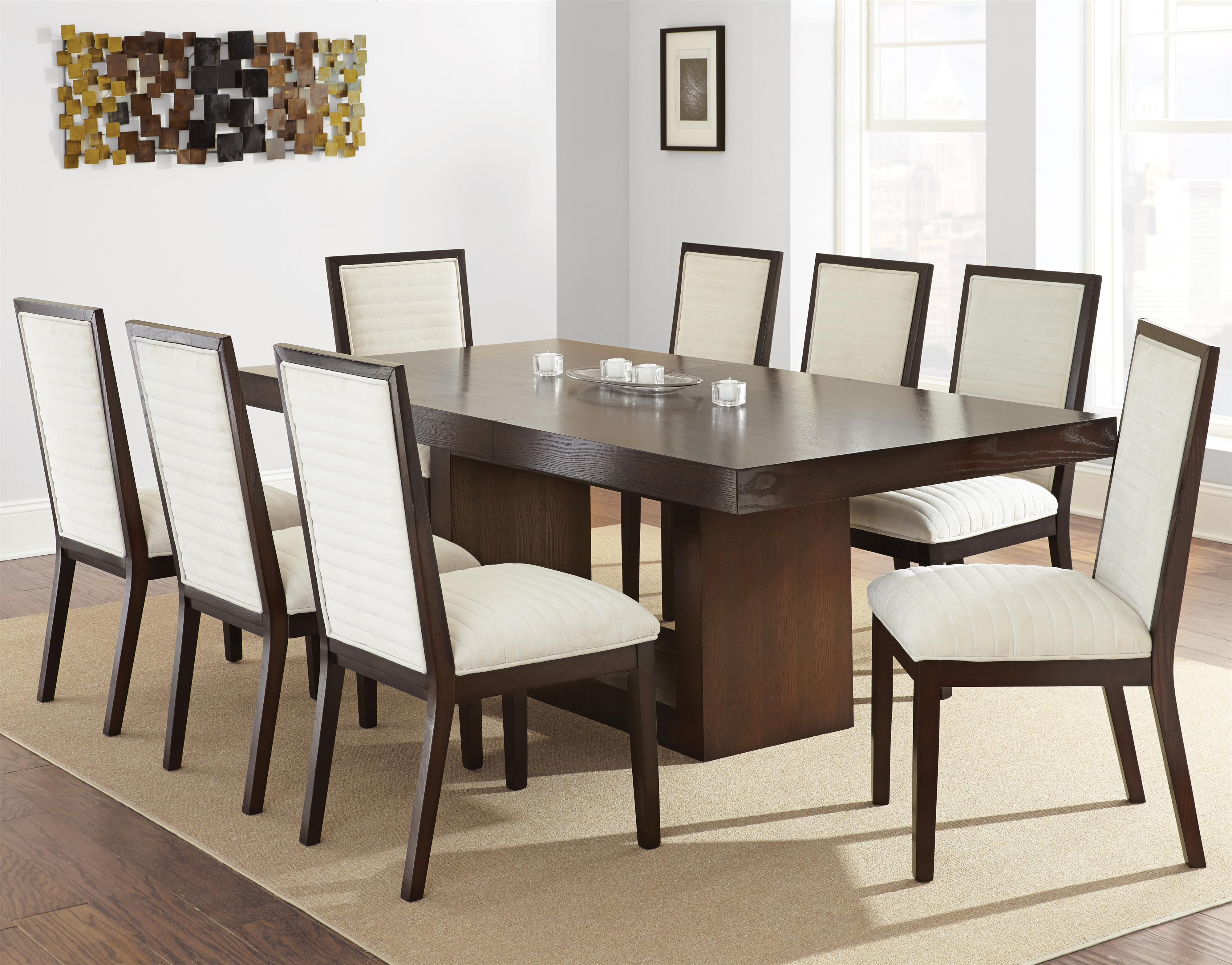 Antonio Contemporary Dining Set With Upholstered Side Chairs