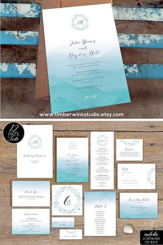 Beach Invitation Printable Wedding Template Ombre Blue ...