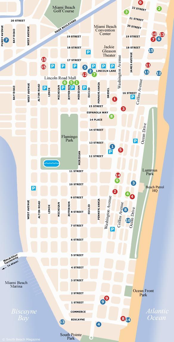 South Beach Miami Map hotel Ocean Dr and 2nd St Miami