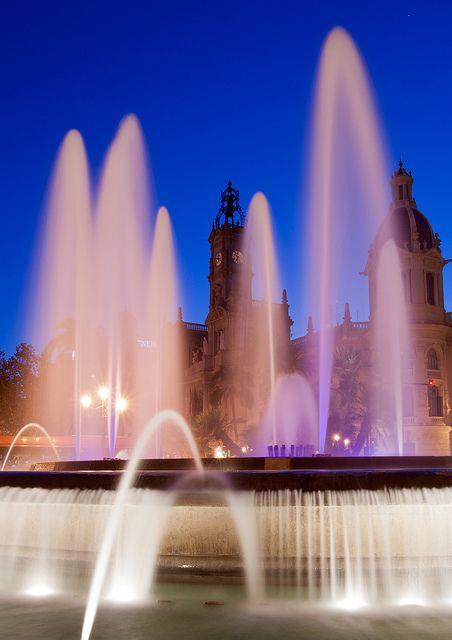 Ayuntamiento Night Fountain  Valencia   Spain