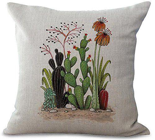 18/'/'Cacti Cotton Linen Pillow Case Creative Seat Cushion Cushion Cover