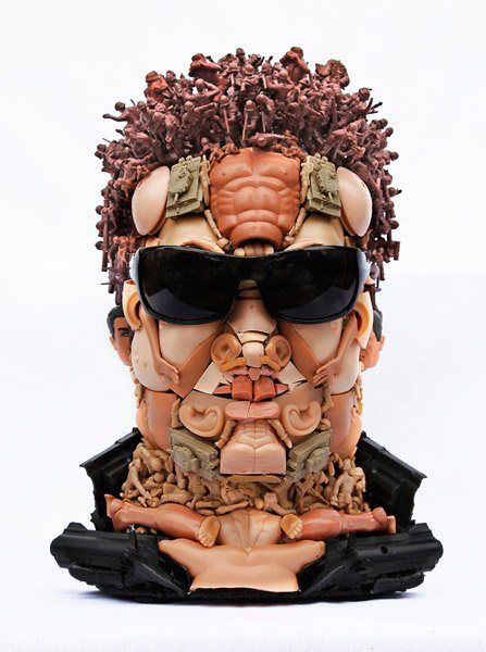 13 Arnie SOLD Humanoid faces made of doll parts in art  with Sculpture face Doll Art