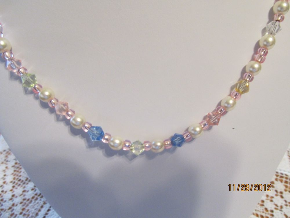 White Pearl with Blue and Pink  Swarovski Crystal Necklace