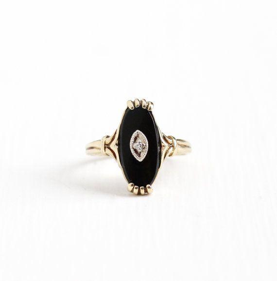 Vintage 10k Yellow Gold Black Onyx Diamond By Maejeanvintage Antique Rings Vintage Retro Jewelry Fine Jewelery