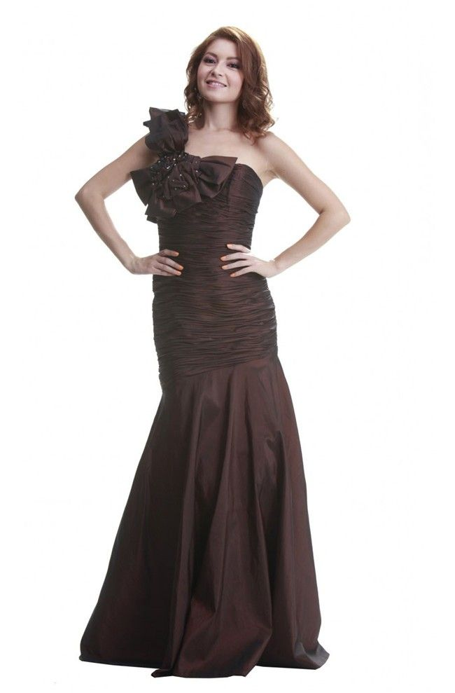 Mermaid One Shoulder Dark Brown Taffeta Ruched Prom Dress With ...