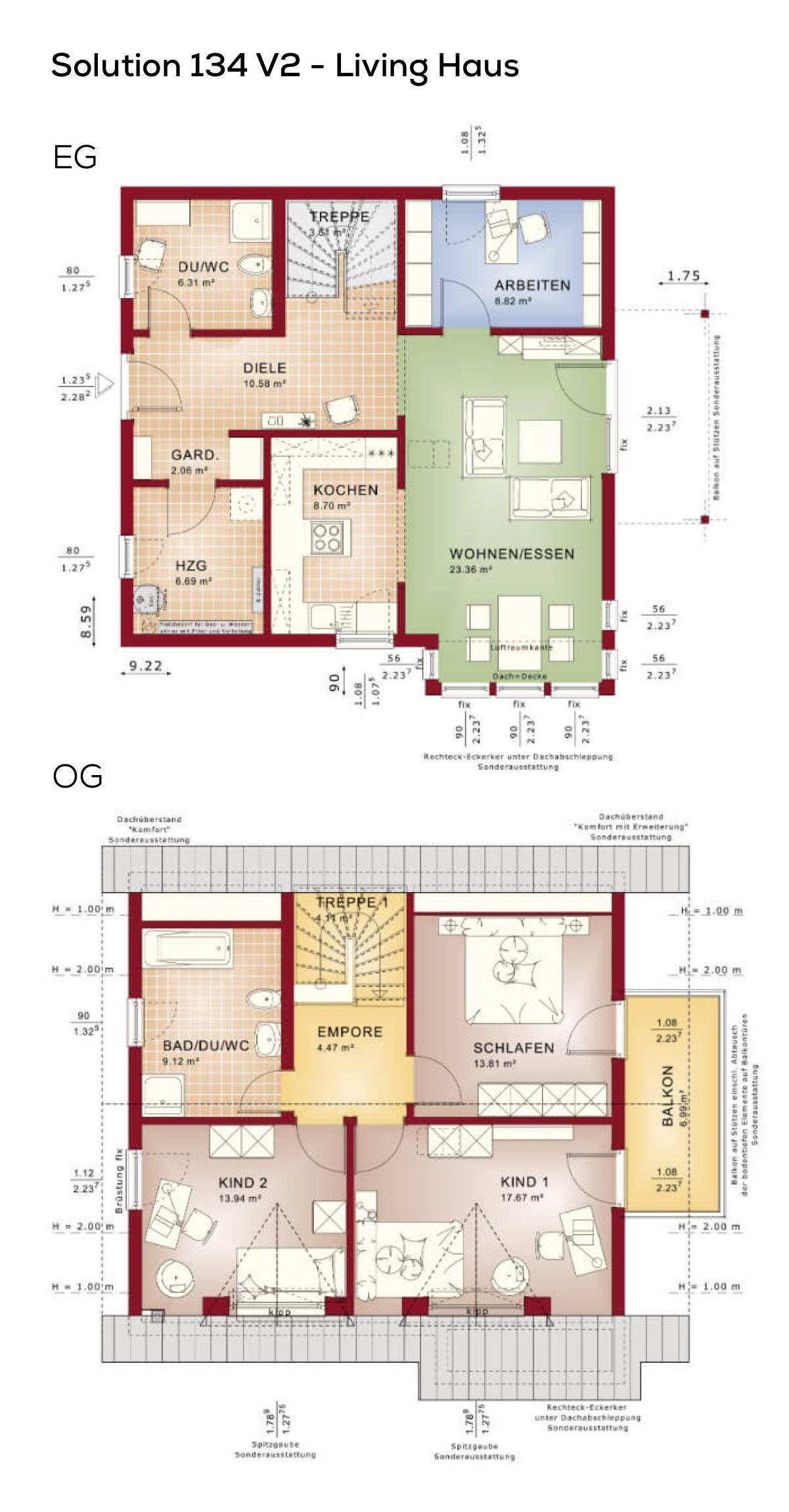 Grundriss Einfamilienhaus mit Satteldach  5 Zimmer 130 qm Wohnflche ohne Keller Erdgeschoss