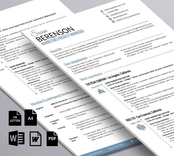 Minimalist professional resume - 2 pages (word) - Pinterest