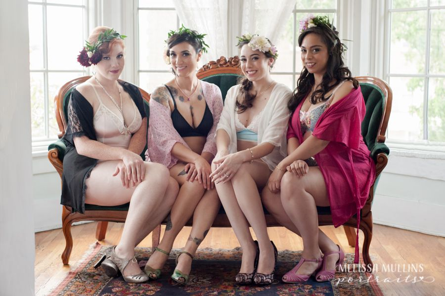 Bridal Shower Inspiration For A Vintage Boudoir Photoshoot In Denver At The Holiday Chalet Victorian B With Bridesmaids And Flower Crowns