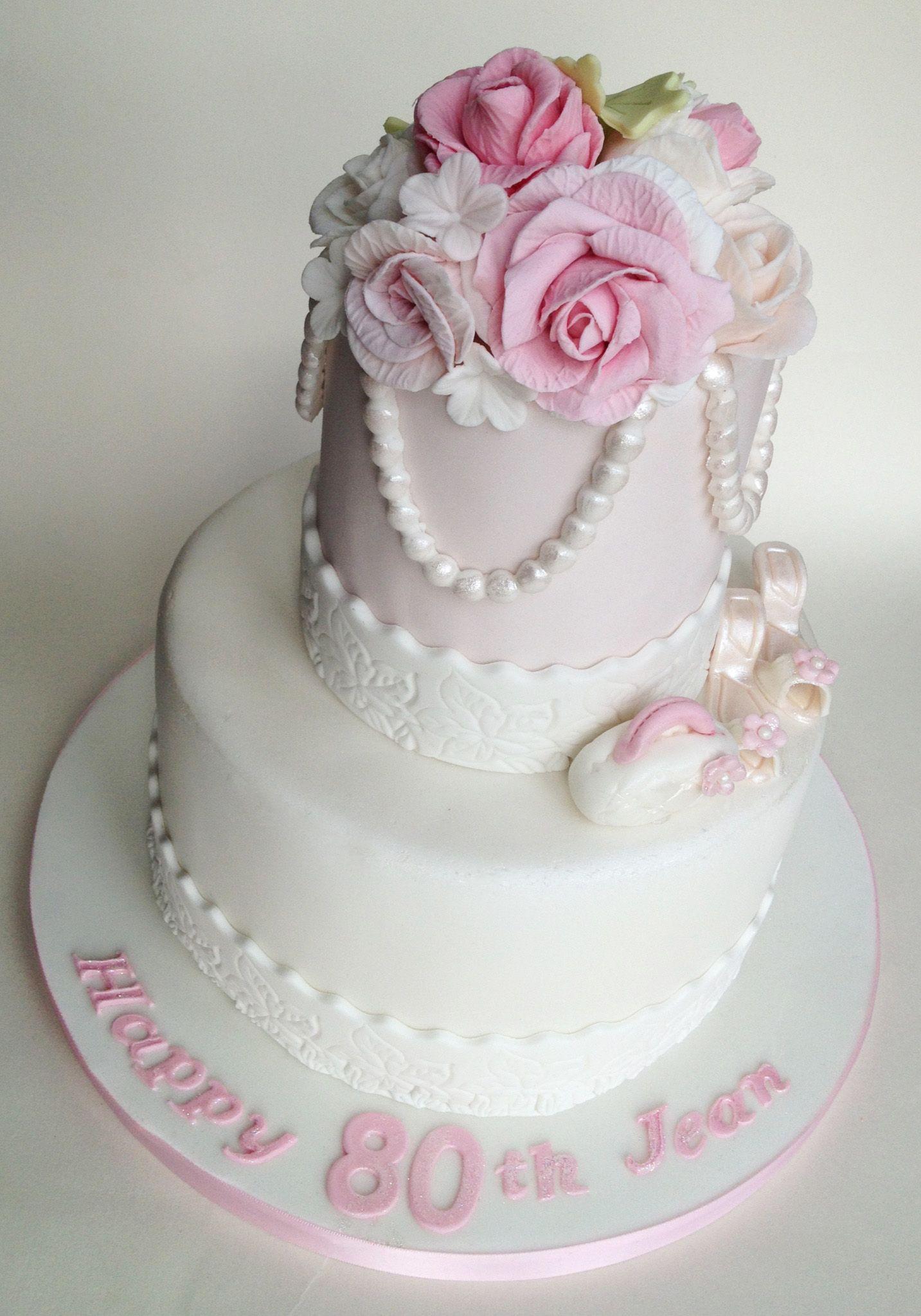 80th Birthday Cake 2 Tier