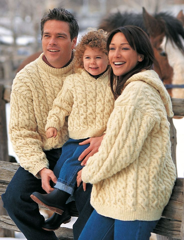 798f5fae28e01 Free knitting pattern for Family Cable Sweaters - Here s one for the whole  family from Patons! This aran cable pullover sweater comes with options for  hood ...