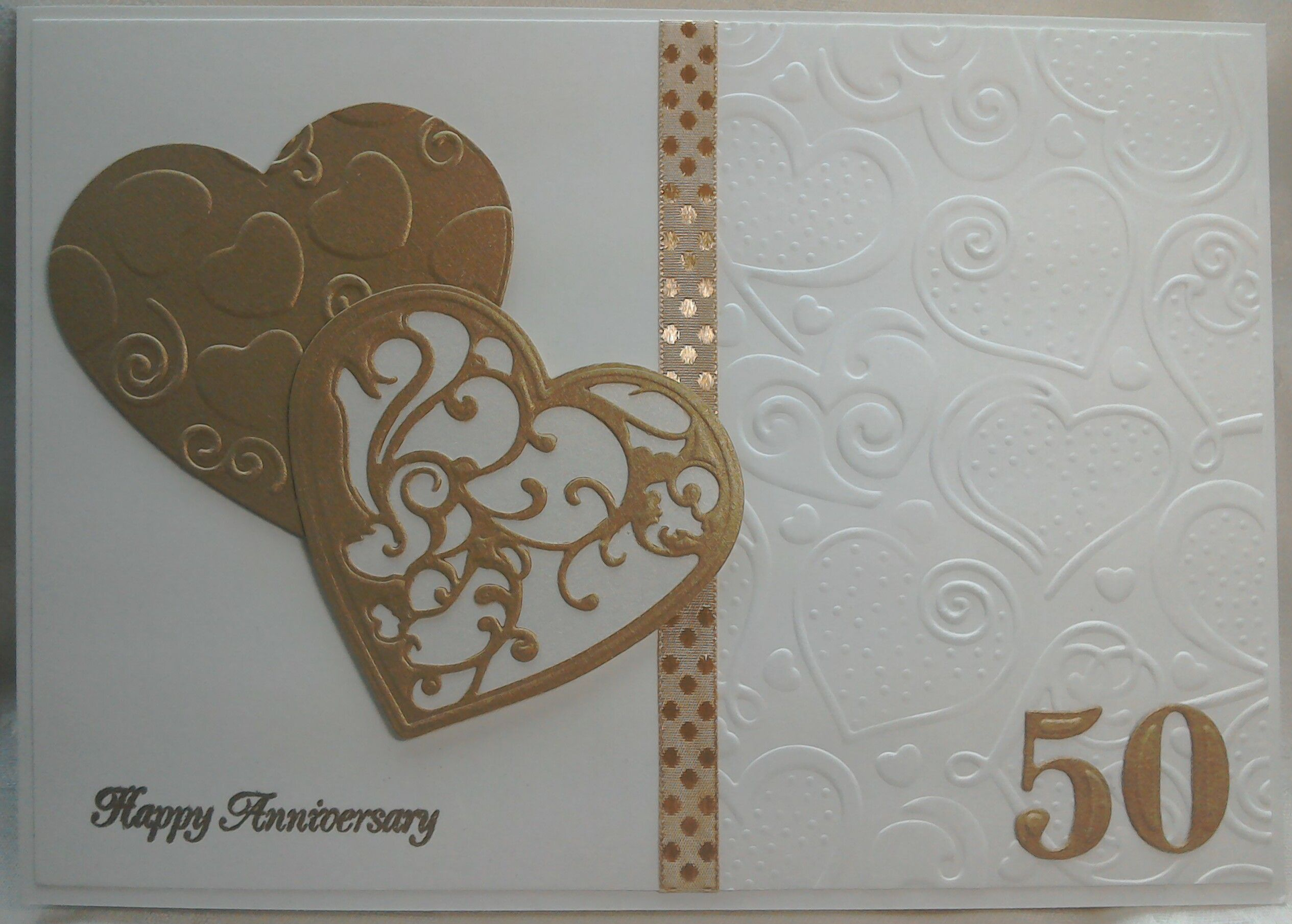 Made by Lynne Lee - Spellbinders Vines of Passion heart dies & hearts embossing folder with Tonic numeral dies used to make this golden wedding anniversary card