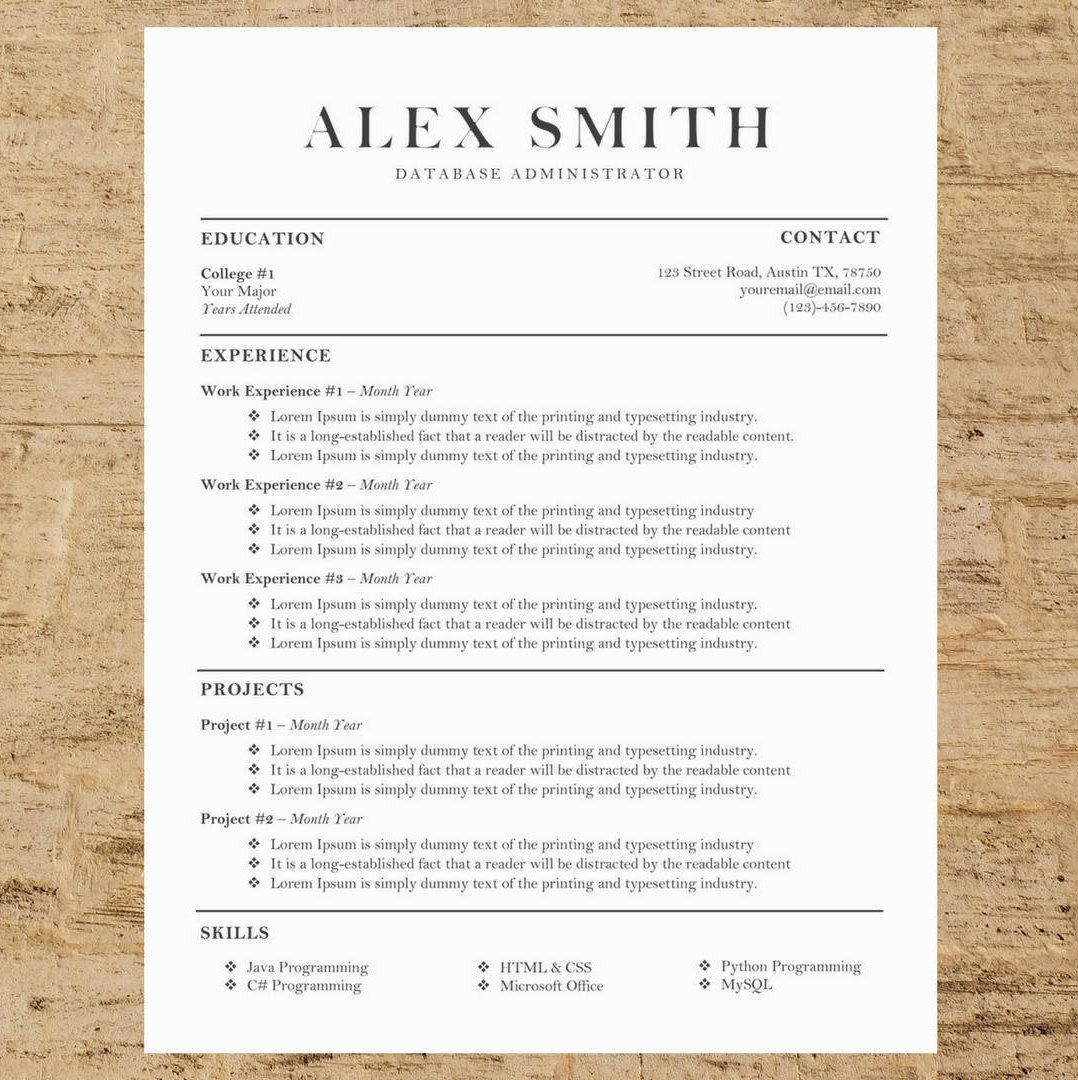 Professional College Resume Prepossessing Business Resumecv Template  Modern Resume And Cover Letter  Word .