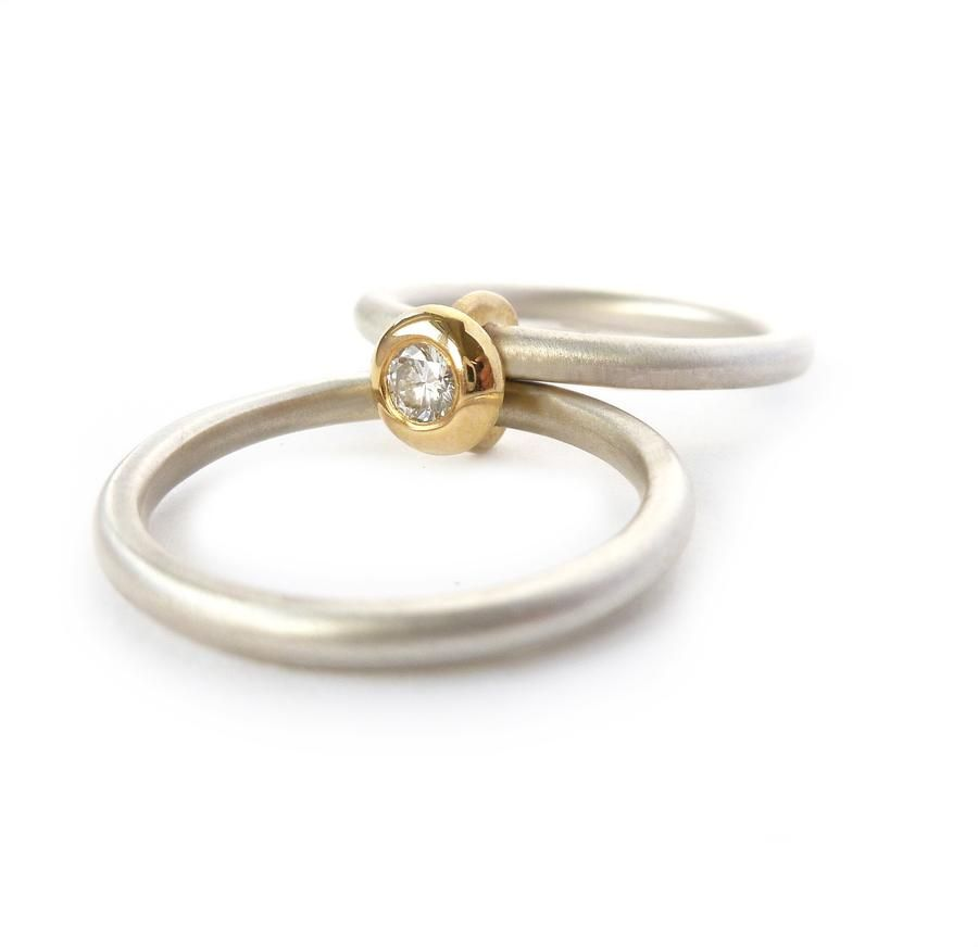 5a2c69dd2 Designer contemporary and modern 18k yellow gold, silver diamond engagement  ring, dress ring, eternity ring, matt brushed finish. Handmade by Sue Lane  UK