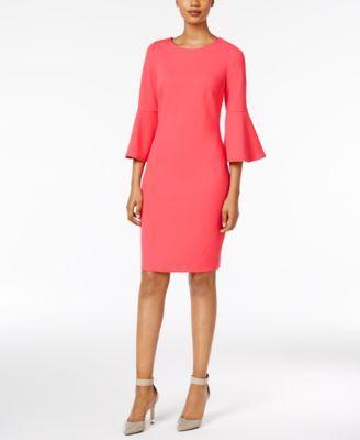 39++ Calvin klein bell sleeve sheath dress pink ideas