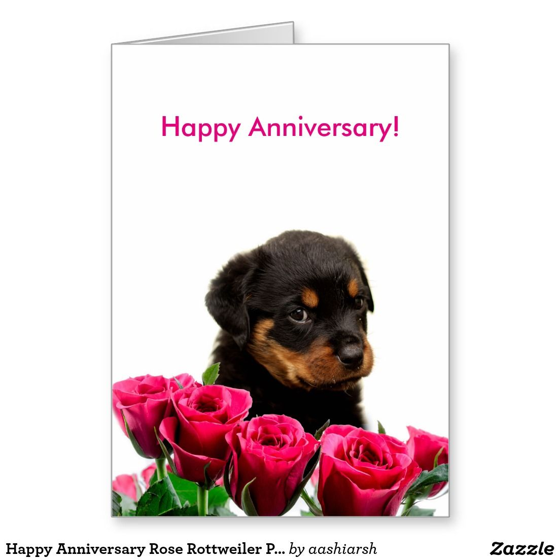 Happy Anniversary Rose Rottweiler Puppy Card | Cards | Pinterest ...