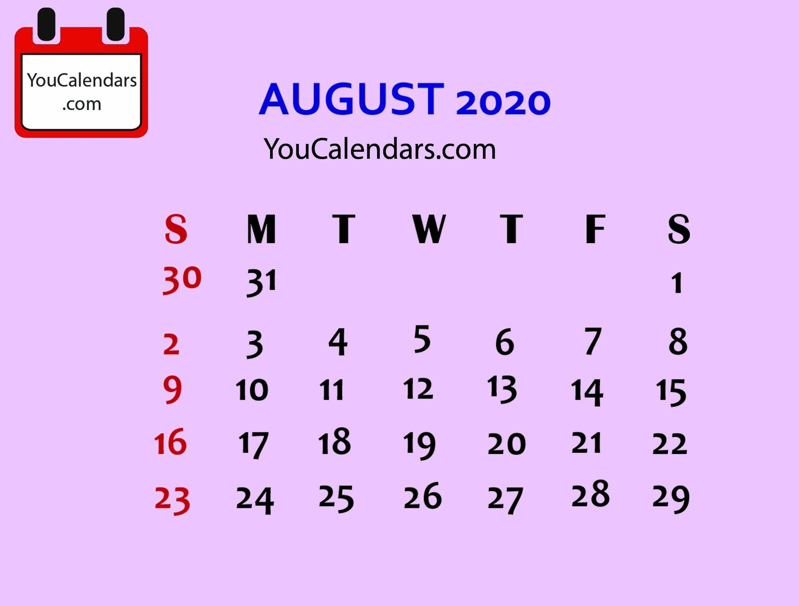 Free August 2020 Calendar Printable Template Calendar