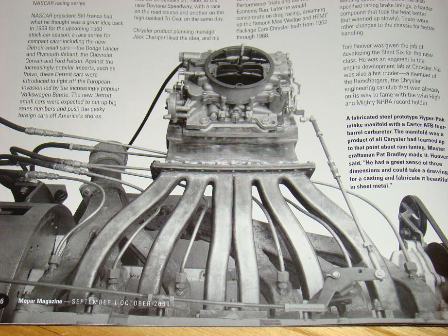 Plymouth Hyper-Pak Slant Six engine with long throw intake manifold