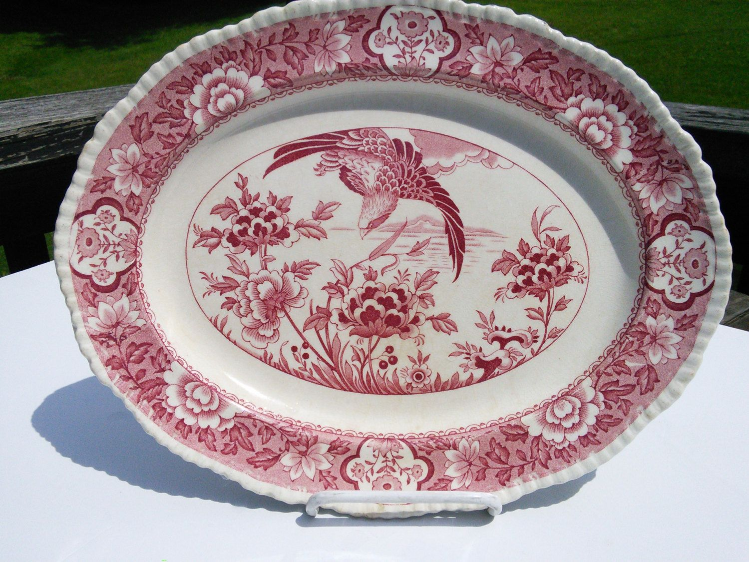Woods Ware Red Pink Aquila Pattern Platter By Wood Sons England Red Transfer Ware Vintage China Cottage Chic Vintage Dinnerware Vintage China Victorian Decor
