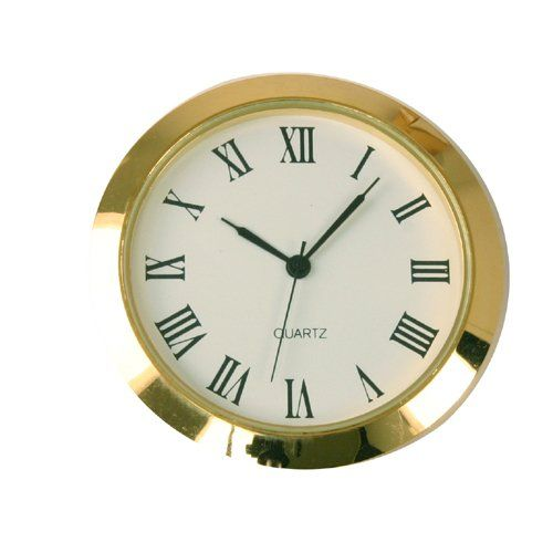 Mini Clock Quartz Movement Insert Round White Dial Gold Tone Bezel Roman Number Click On The Image For Additional Details Clock White Dial Quartz Movement