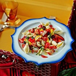 Lobster, roast pepper and basil pasta salad