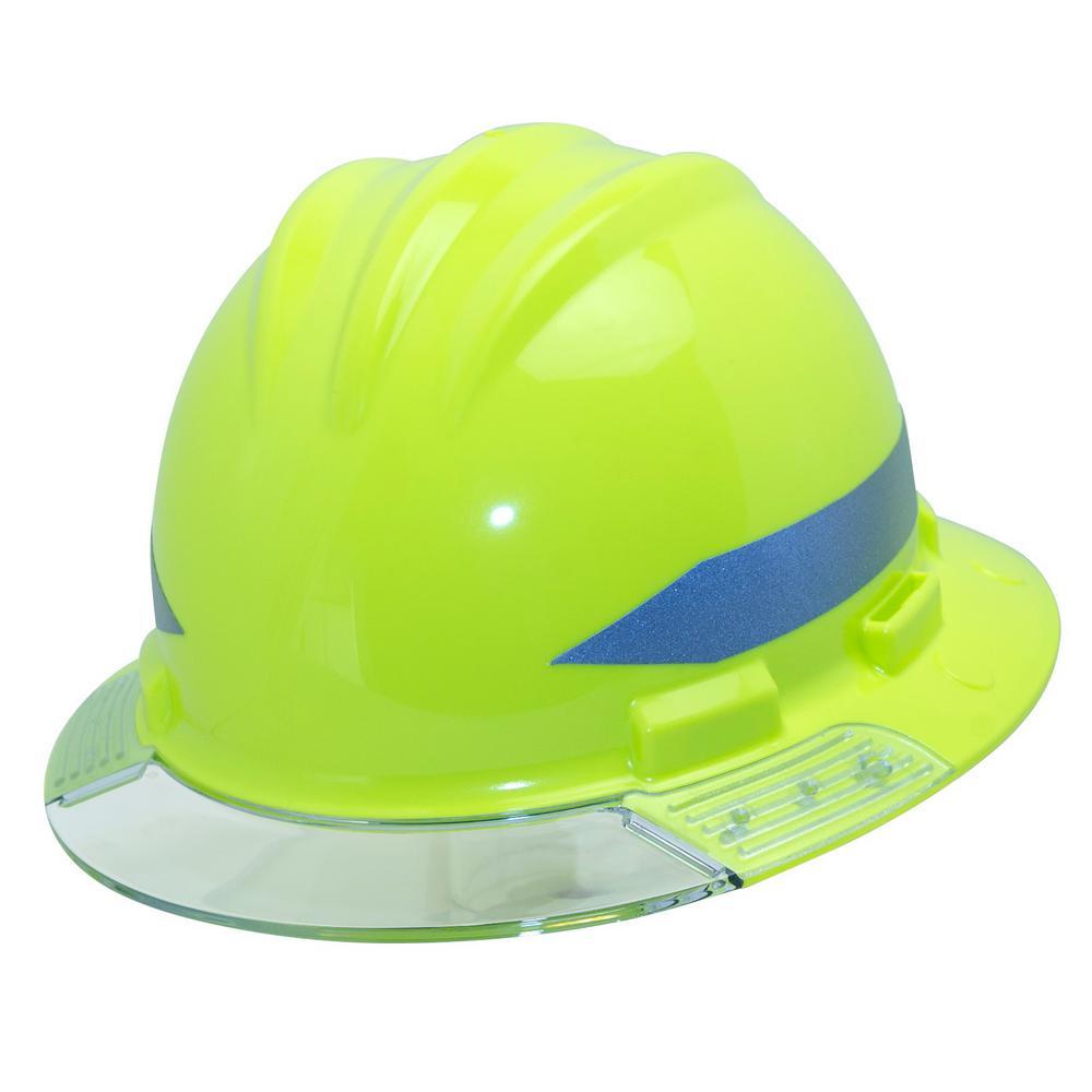 Bullard Hi Vis Full Brim Above View Hard Hat With Clear Brim Visor