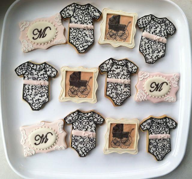 The Painted Pastry : Vintage Pram Baby Shower Cookies