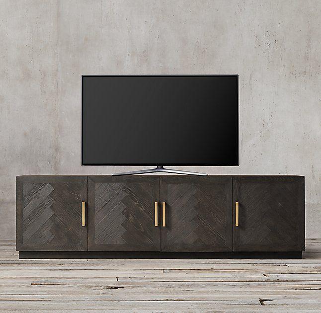 Herringbone 4 Door Media Console Modern Tv