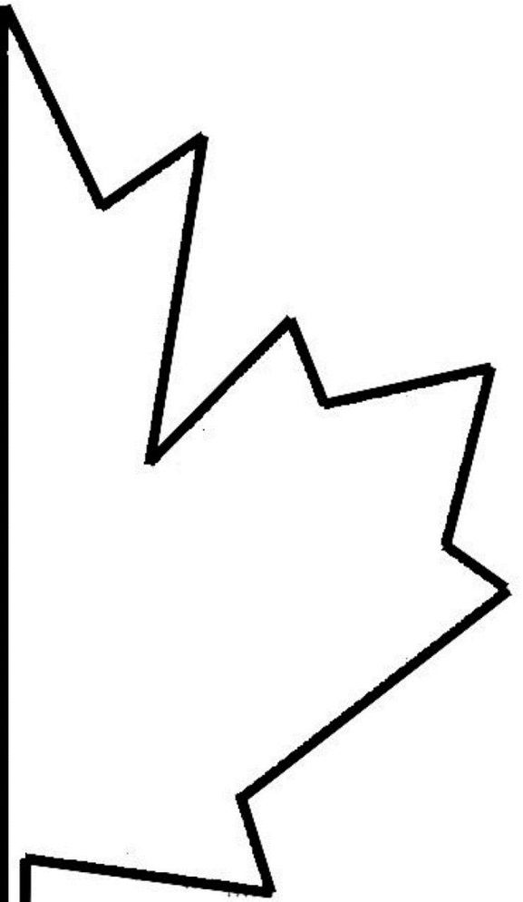 half maple leaf cut out template of canada day coloring pages