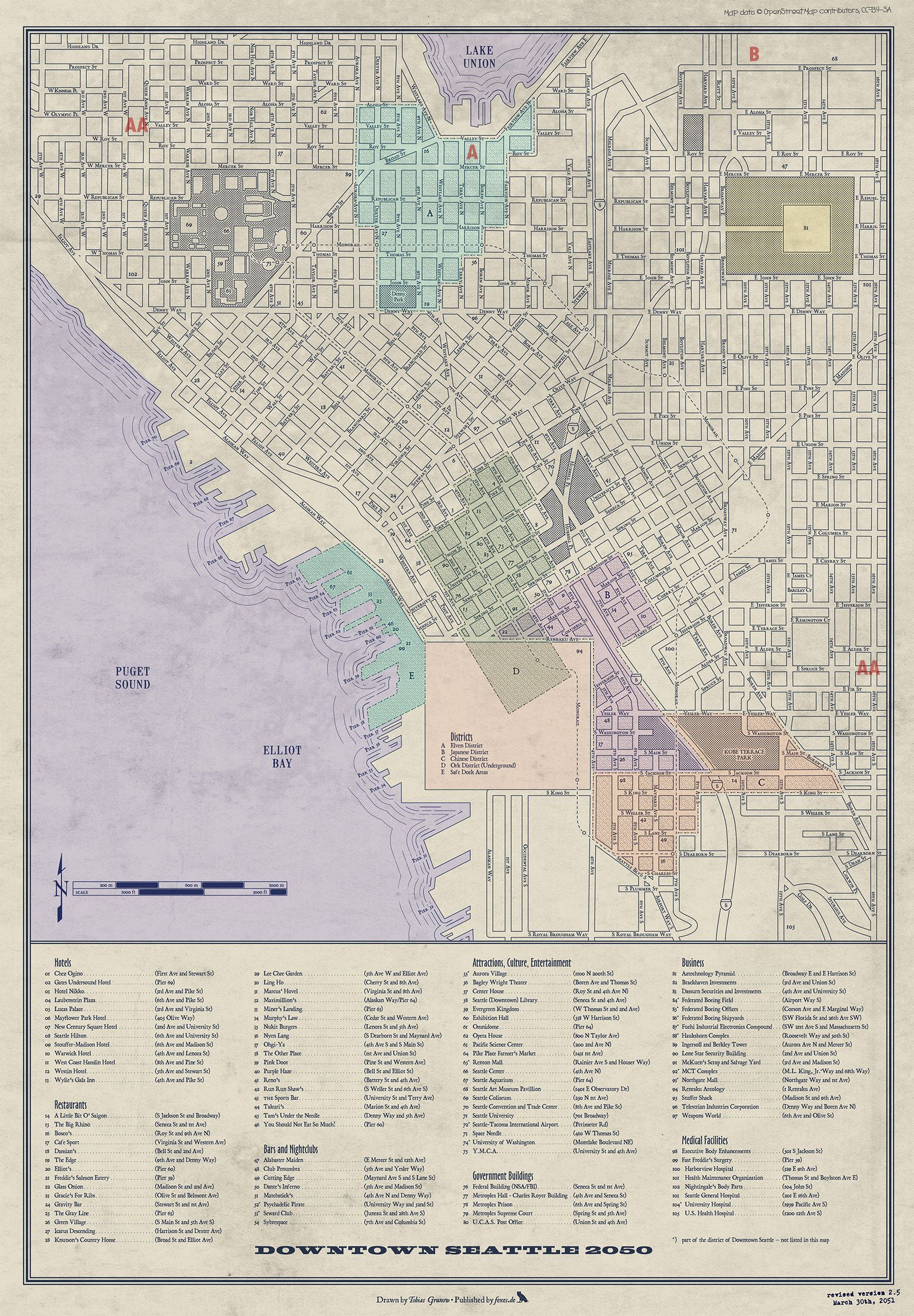 Shadowrun Seattle Downtown Zones And Districts By Mnnoxmortem On