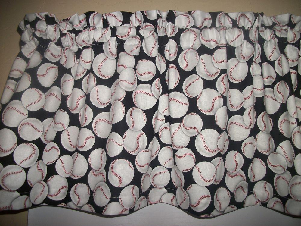 Baseball Black Background Boys Bedroom Sports Fabric Curtain Topper Valance