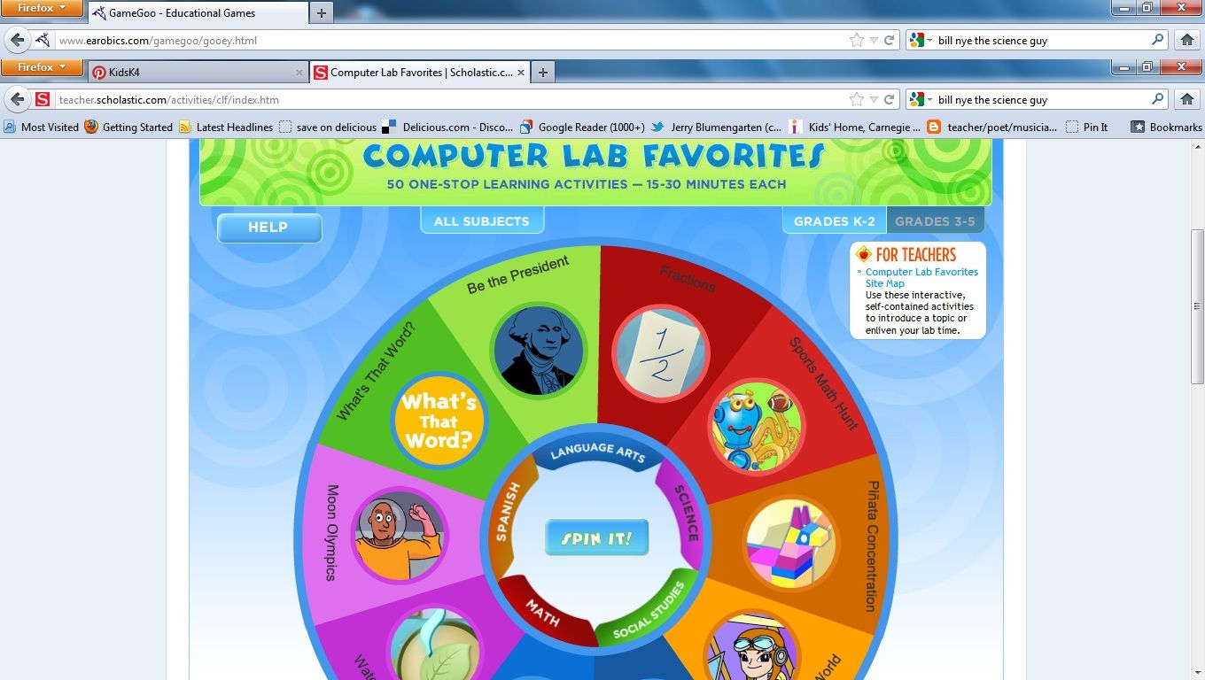 Scholastic Games Choose An Age Level Choose A Subject Play A
