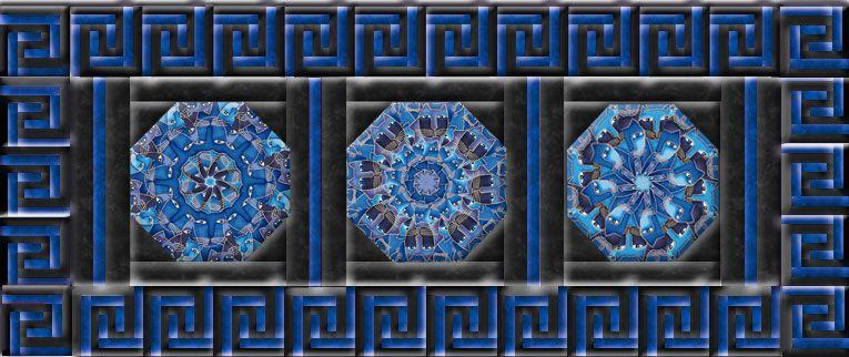 Laurel Burch Fabulous Felines Blue Greek Key Table Runner Kit A