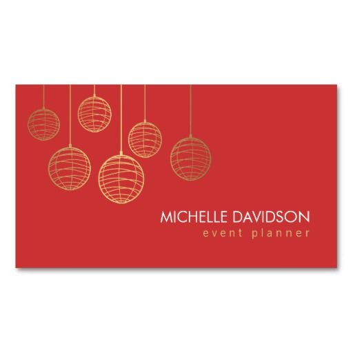 Elegant Gold Chinese Paper Lanterns on Red Business Card Template - event plan template