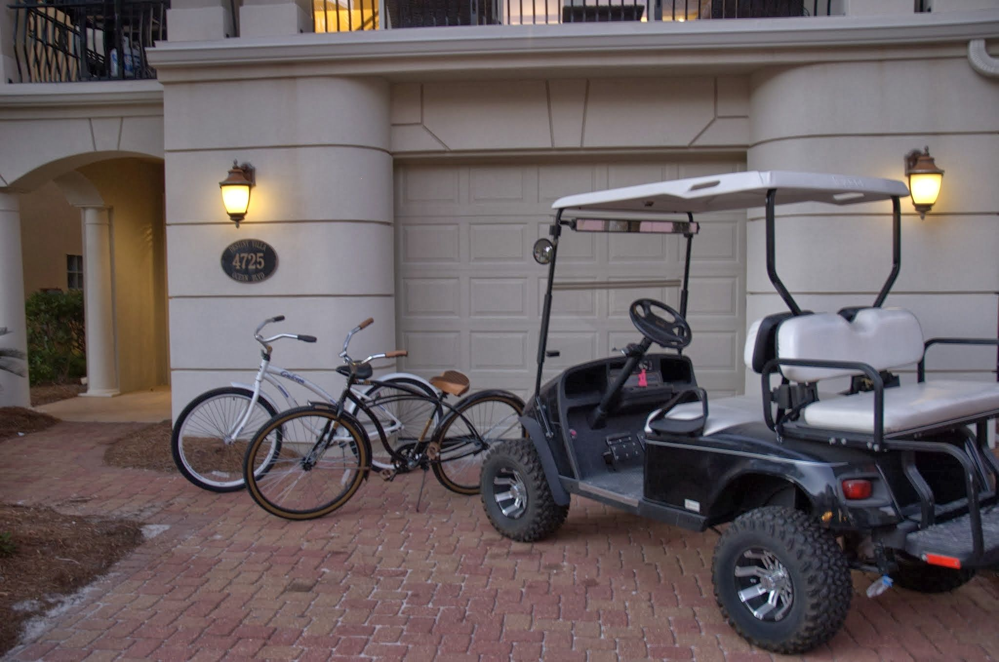 We value all types of transportation! The golf cart is free to use, along with the bikes. Kayak rentals are available on the beach during the summer!