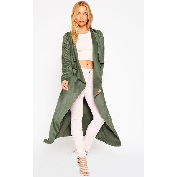 9b6d5f41e Liberty Khaki Suede Waterfall Coat-8 (£30) ❤ liked on Polyvore ...