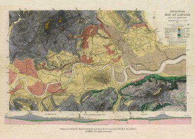 Historical R W Mylne Geological Map Of London 1871 700 X 480