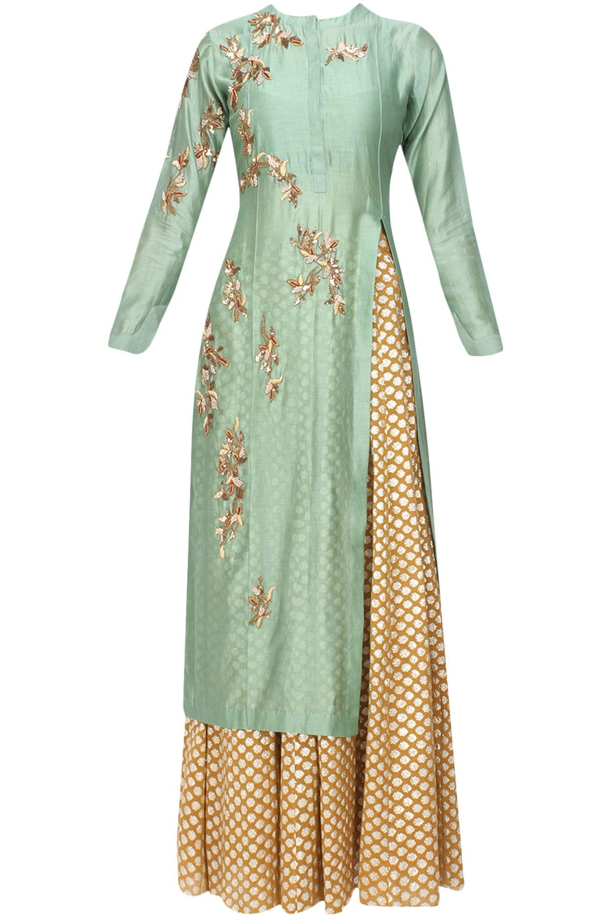 6e54e5207f Joy Mitra pistachio green chanderi silk long kurta with gold lengha and  floral embroidery work