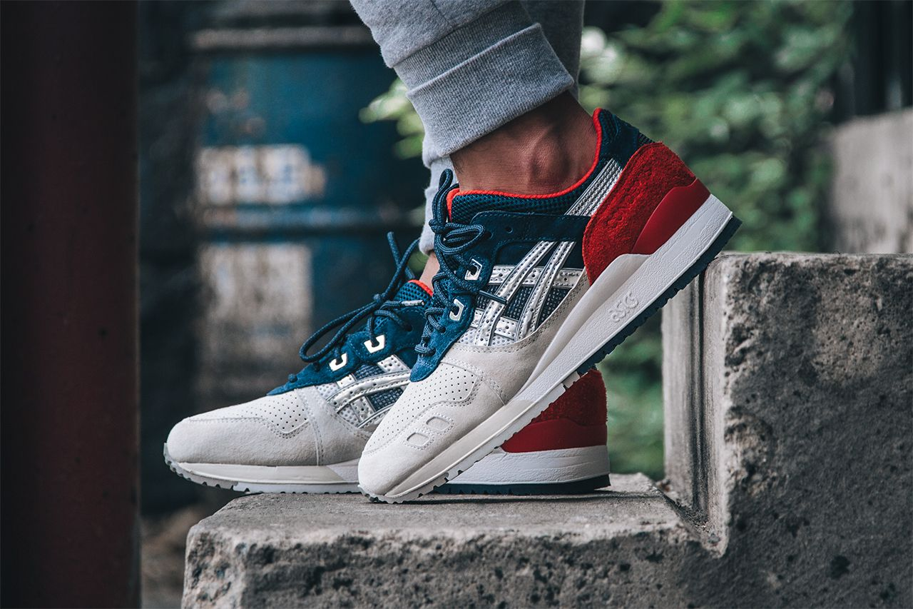 Concepts x Asics Gel Lyte III 25th anniversary flavor. | Tags: sneakers, low-tops,  white, red, teal, orange, on feet, joggers