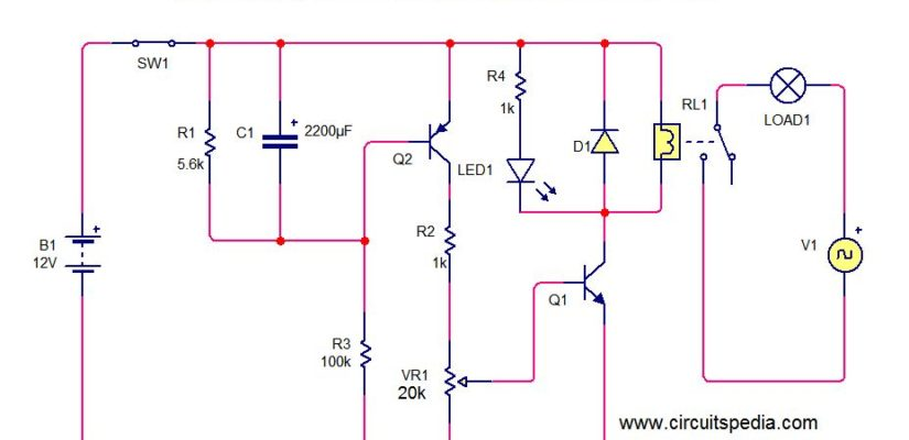 On Delay Timer Circuit Diagram With Relay  Power On Delay