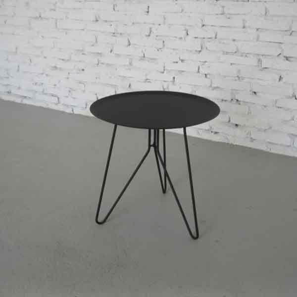 bout de canap rond klixx noir achat vente table basse d co scandinave. Black Bedroom Furniture Sets. Home Design Ideas