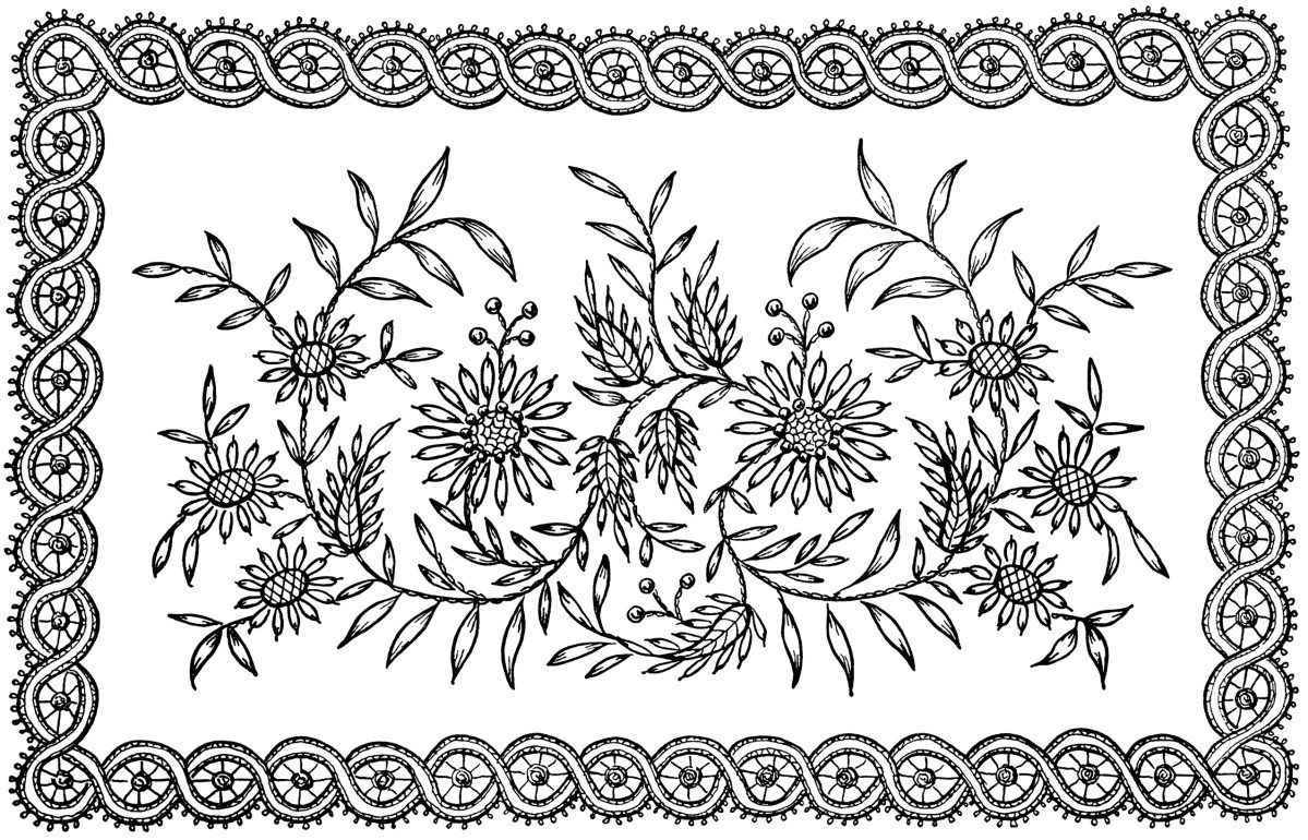 This lovely vintage embroidery design consists of a pattern of