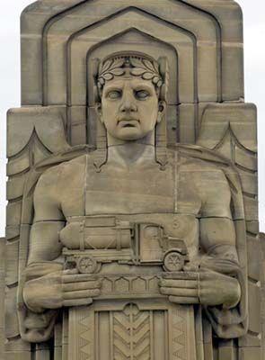 Cleveland Ohio Guardian Of Traffic Statue Holding A Tanker Truck Art Deco Sculpture Art Deco Architecture Art Deco Era