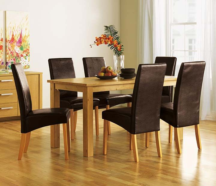 Elegant Small Dining Tables Sets With Black Leather Chair And Wooden Table  Finished In Traditional Stylish