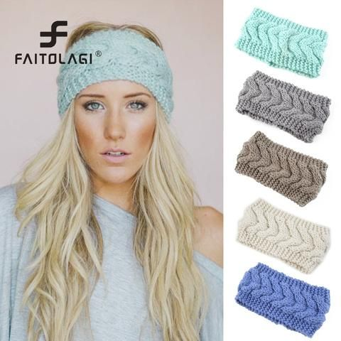 c7276e51d22 Solid wide knitted hairbands women warm ear crochet turban headbands girls  party wear women girls hair Band Winter Headwraps
